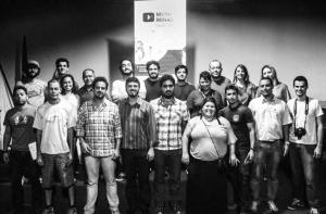 Agentes culturais e músicos barbacenenses no auditório da Fundac.